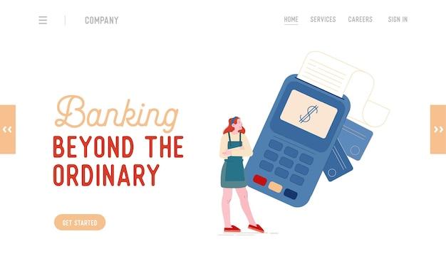 Berührungslose zahlung mit landing page template für kreditkartenlesegeräte. verkäuferin charakter im supermarkt verwenden sie pos terminal für kunden bargeldloses bezahlen für einkäufe. karikatur
