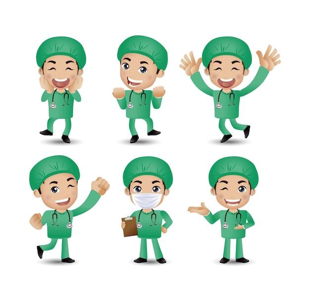 Beruf - arzt mit verschiedenen posen