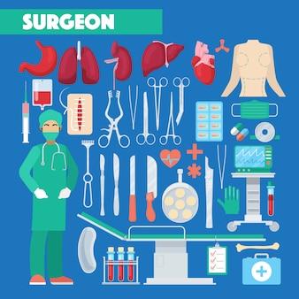 Beruf chirurg medizinische werkzeuge mit anatomie menschliche organe. illustration