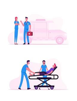 Beruf des medizinischen personals des krankenwagens. karikatur flache illustration