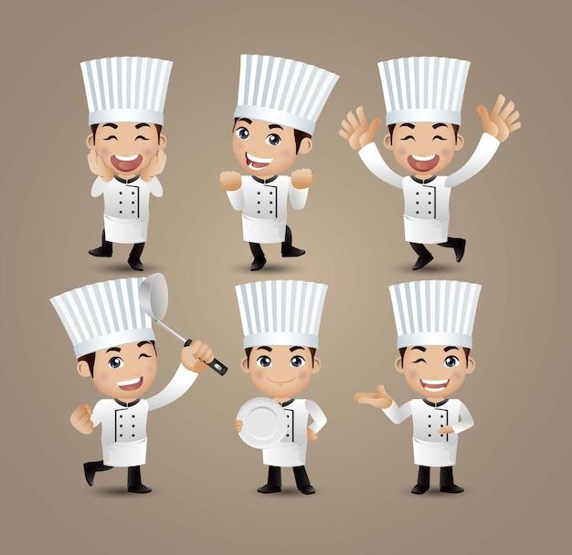Beruf - koch mit verschiedenen posen