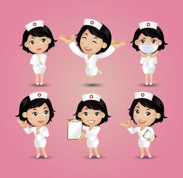 Beruf - krankenschwester mit verschiedenen posen