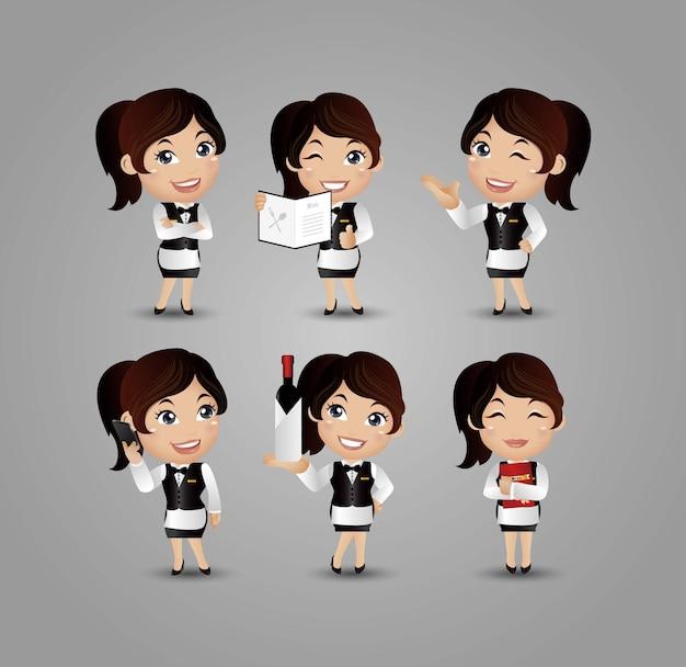 Beruf - server mit verschiedenen posen