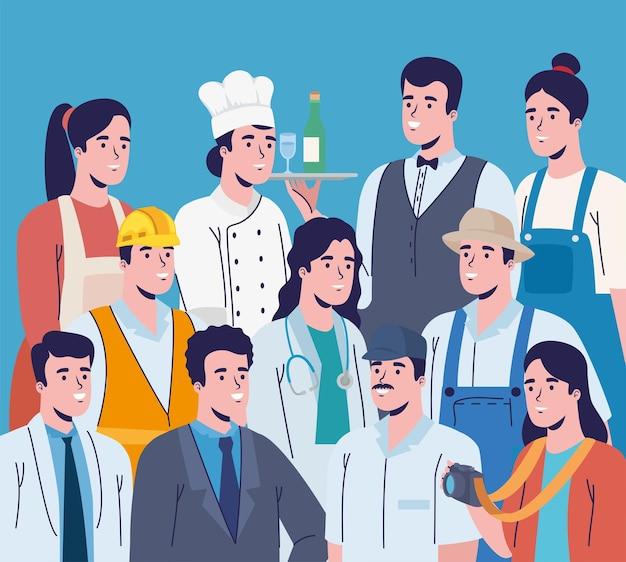 Berufe arbeiter charaktere menge