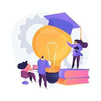 Berufliche entwicklung der abstrakten konzeptillustration der lehrer. initiative der schulbehörde, ausbildung der lehrer, konferenz und seminar, qualifizierungsprogramm