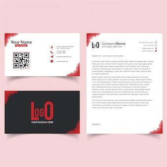 Berufsbroschüre und visitenkarte eingestellt mit rosa hintergrundvektor
