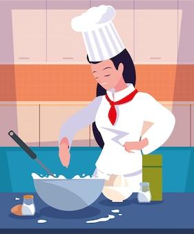Berufscheffrau beim küchenkochen