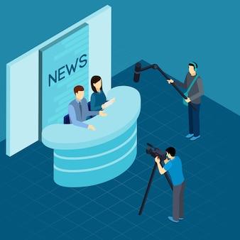 Berufsjournalisten an der isometrischen fahne des studios