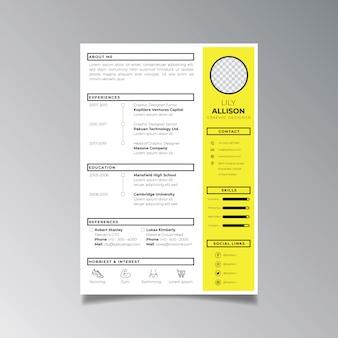 Berufslebenslauf-designschablonenminimalist. geschäftsplanvektor für bewerbungsschablone.