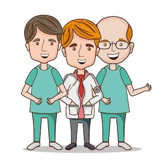 Berufsmanndoktor mit uniform und stethoskop