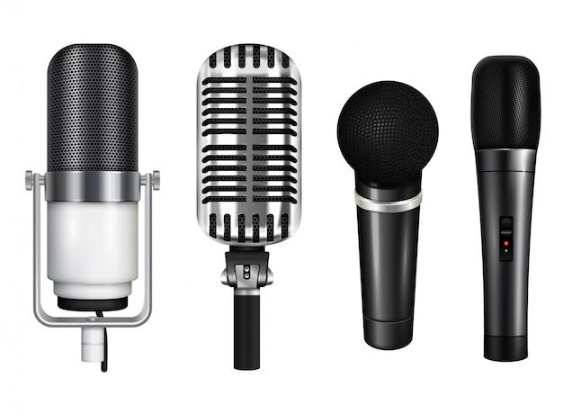 Berufsmikrofonsammlung für karaoke und konzert in der realistischen art lokalisiert auf weißer hintergrundillustration