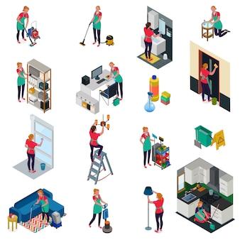 Berufsreinigungsdienstleistungen für das büro und wohnungssatz isometrische ikonen lokalisiert