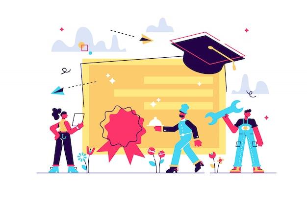 Berufsspezialisten abschluss und diplom mit abschlusskappe. berufsbildung, berufliches lernen, online-berufsbildungskonzept. helle lebendige violette isolierte illustration