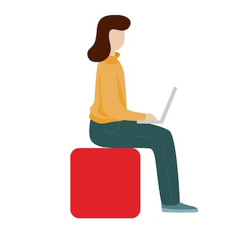 Berufstätige frau, die mit einem computer sitzt. konzept des sozialen netzwerks. freiberufliche remote-arbeit. flache cartoon-stil-vektor-illustration.