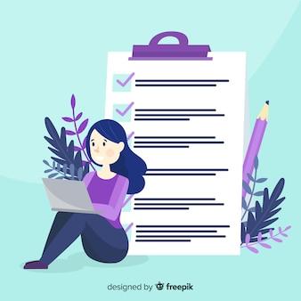 Berufstätige frau, die riesige checkliste überprüft