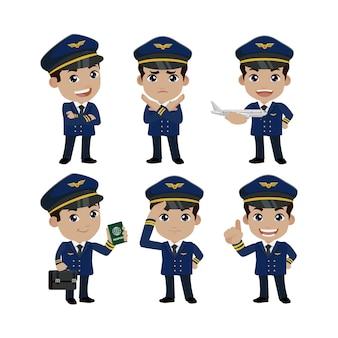 Besatzungskommandant mit verschiedenen posen