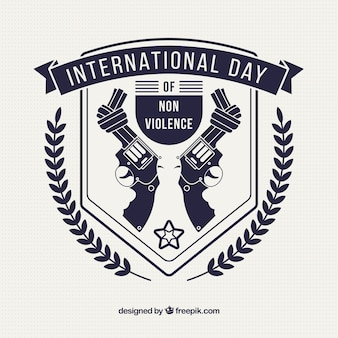 Beschädigte gewehre den tag der gewaltlosigkeit zu feiern