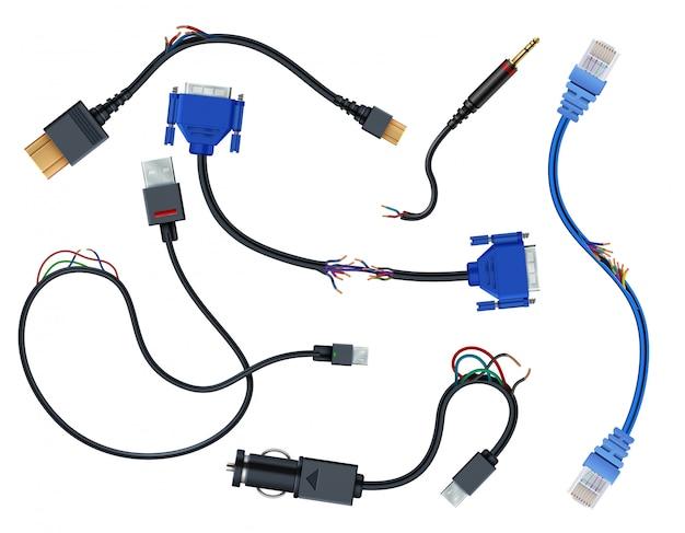Beschädigte kabel mit steckern