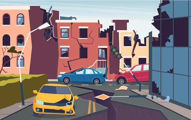 Beschädigte stadtlandschaft. naturkatastrophenstadt zerstörte beben urbanisierungsprobleme rissiges bodenstraßenbild