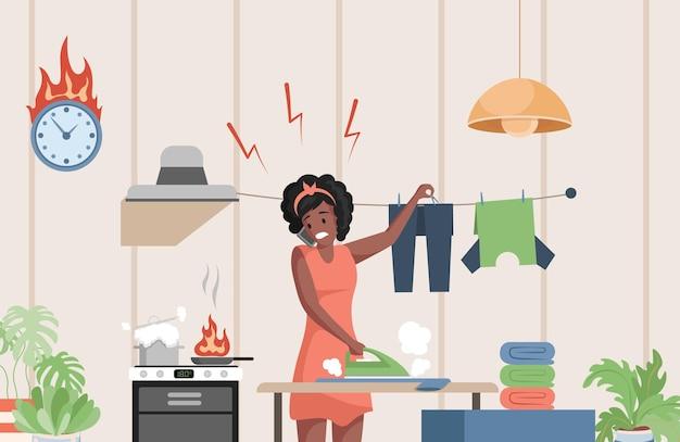 Beschäftigte frau in der freizeitkleidung, die illustration der hausarbeit tut