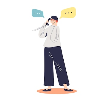 Beschäftigte geschäftsfrau, die auf smartphone und telefon zur gleichen zeitillustration spricht