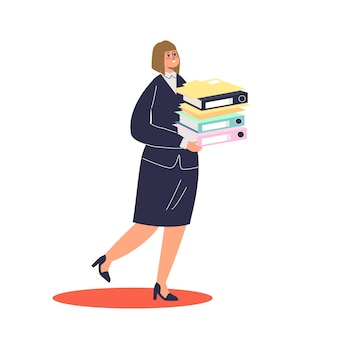 Beschäftigte geschäftsfrau, die stapel von dokumenten hält, um illustration zu arbeiten