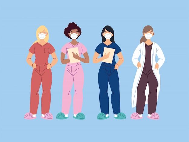 Beschäftigte im gesundheitswesen, ärzte und krankenschwestern