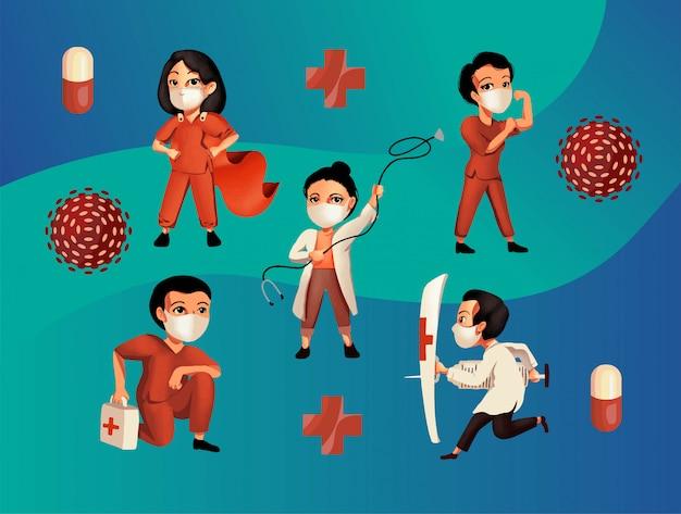 Beschäftigte im gesundheitswesen bekämpfen viren
