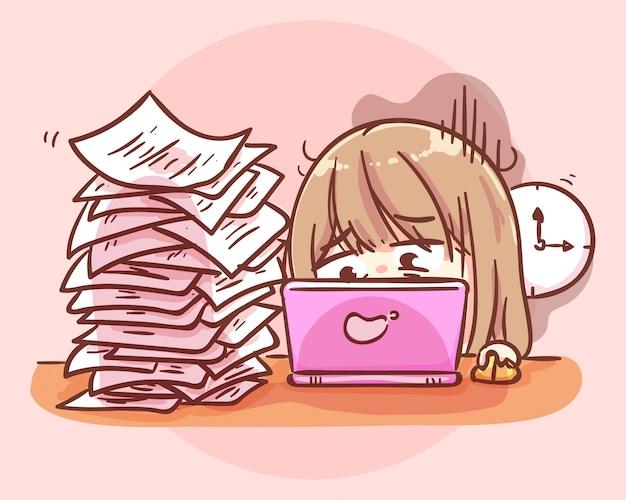 Beschäftigte überarbeitete frau, die am tisch mit laptop und papierstapel sitzt. karikaturkunstillustration premium-vektor
