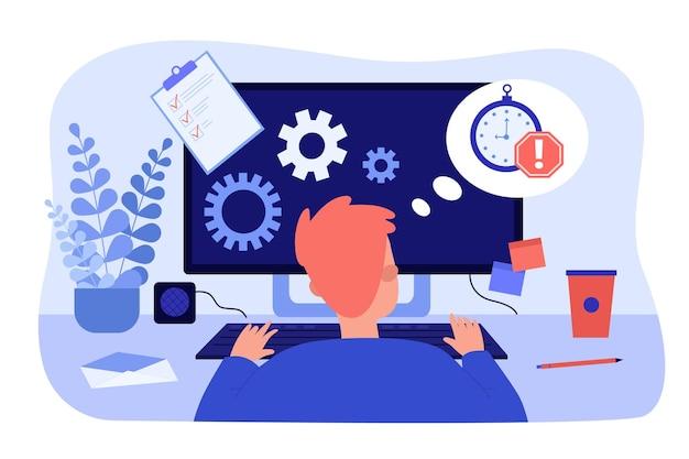 Beschäftigter büroangestellter, der online am computertisch arbeitet. arbeitsfrist für die flache vektorillustration des männlichen angestellten. zeitmanagement, produktivitätskonzept für banner, website-design oder landing-webseite