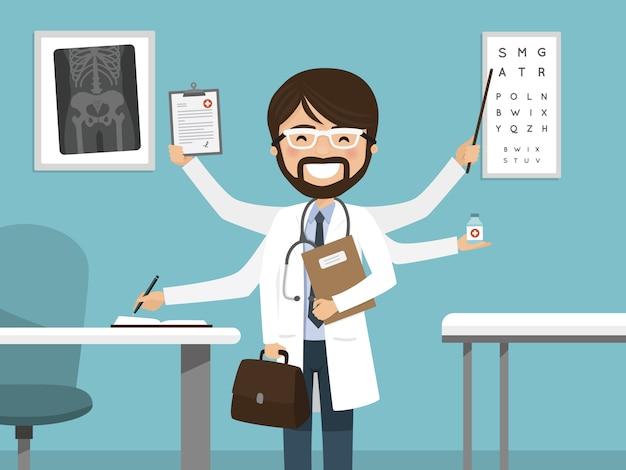 Beschäftigtes männliches doktorlächeln des multitasking. professionelles stehen im krankenhaus