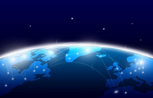 Beschaffenheitsmustertechnologie-innovations-konzepthintergrund der abstrakten weltkarte digitaler Premium Vektoren