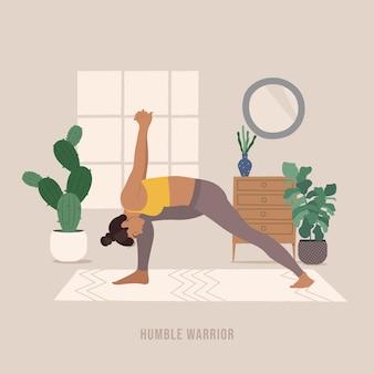 Bescheidene krieger-pose junge frau, die yoga-pose praktiziert