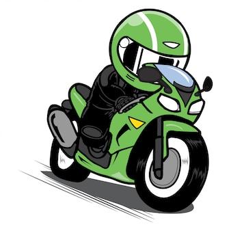 Beschleunigender motorradrennfahrer-cartoonvektor