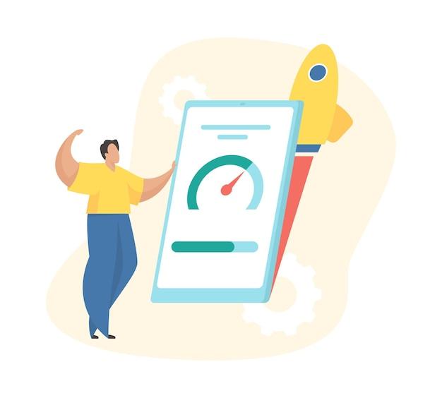 Beschleunigte mobile konzeptillustration. männlicher charakter steht vor einem smartphone mit einem tachometer auf dem bildschirm.