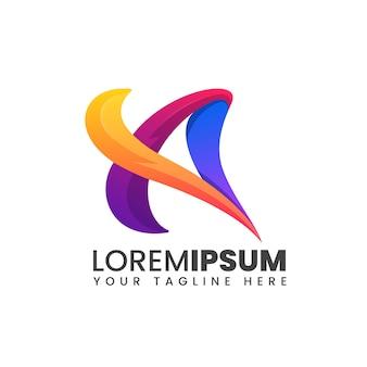Beschriften sie ein buntes logo der abstrakten modernen form 3d