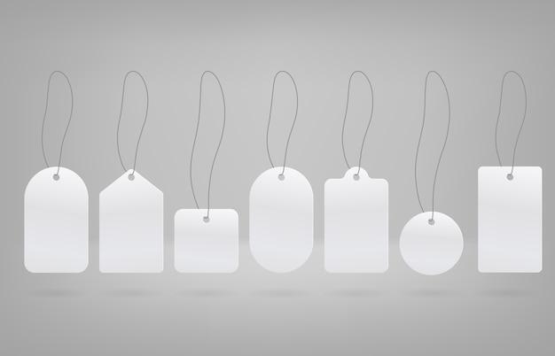 Beschriftet vektordesign. weiße etikettenformen