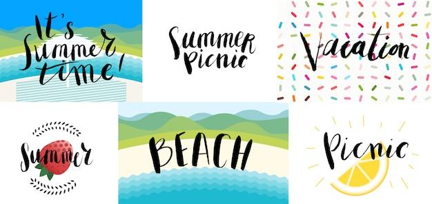 Beschriftung am strand, picknick, urlaub und sommer