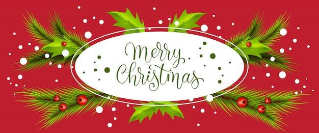 Beschriftung der frohen weihnachten im oval mit blättern und zweigen