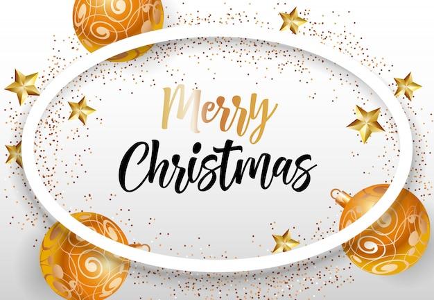 Beschriftung der frohen weihnachten im ovalen rahmen