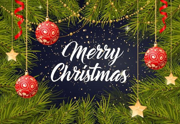 Beschriftung der frohen weihnachten mit baumspielwaren
