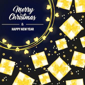 Beschriftung der frohen weihnachten mit gelben geschenkboxen