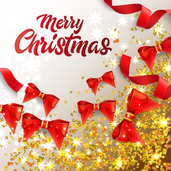 Beschriftung der frohen Weihnachten mit glänzenden Konfetti und roten Bögen