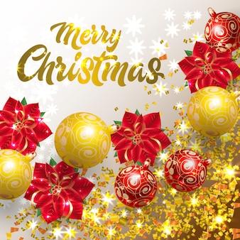 Beschriftung der frohen Weihnachten mit Konfetti- und Weihnachtssternblume