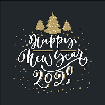 Beschriftung frohes neues jahr 2020 auf schwarzem hintergrund