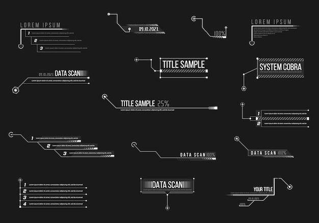 Beschriftung, überschriften für infografiken, werbung, videoproduktion auf schwarzem hintergrund. beschriftung, überschrift abbildung. satz futuristische sci-fi-rahmenvorlage des hud. .