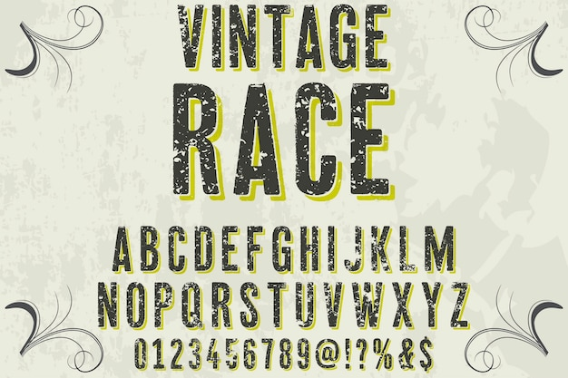 Beschriftungsaufkleber design vintage rennen