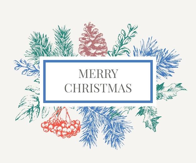Beschriftungsillustration des weihnachtsrahmens mit zweigen des weihnachtsbaumes