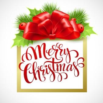 Beschriftungskarte der frohen weihnachten mit stechpalme, grußkarte