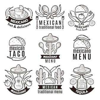 Beschriftungssatz mit traditionellen mexikanischen symbolen. lebensmittel-embleme für restaurantmenü